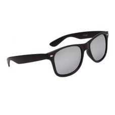 Matte Black Wayfarer Sunglasses with Silver Mirror Lenses